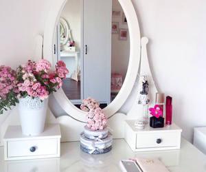 bedroom, pink, and love image