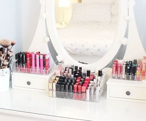 dressing table, ikea, and lipstick image