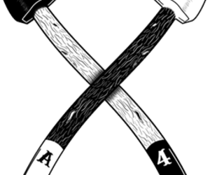 axes, trees, and black and white image