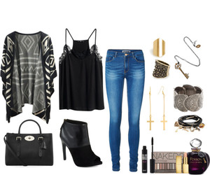 black, outfit, and Polyvore image