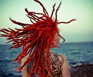 dreads, hair, and red image