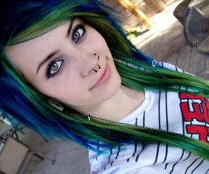 awesome hair, blue green, and scene image