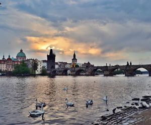 city, prague, and clouds image