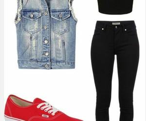 outfit, red, and black image
