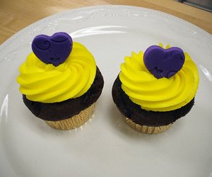 candy, yellow, and cupcake image