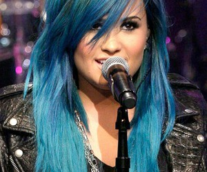 demi lovato, blue, and blue hair image