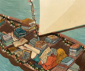 book, boat, and art image