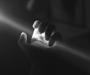 light, hand, and black and white image