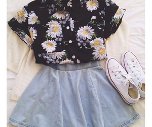 outfit, converse, and flowers image