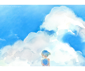 anime girl, blue, and scenery image