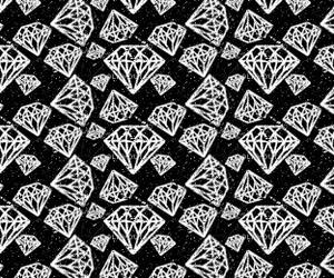 diamond, black, and white image