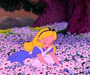 alice in wonderland, disney, and flowers image