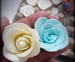 blue, roses, and white image