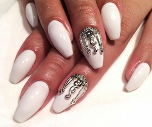 long nails, white nails, and silver crowd image