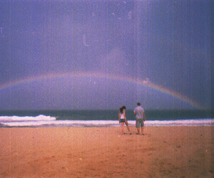rainbow, beach, and couple image