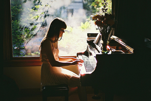 girl, indie, and piano image
