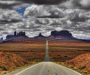 road, landscape, and clouds image
