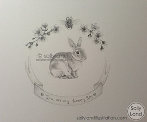 art, bunny, and drawing image
