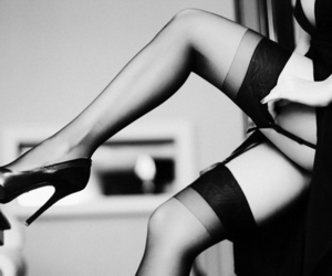 black and white and stockings image