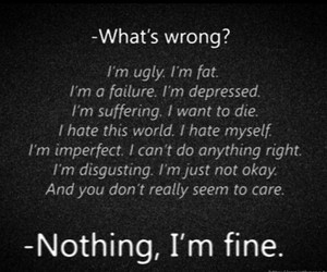 depressed, fat, and quote image