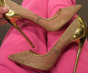 shoes, girl, and gold image