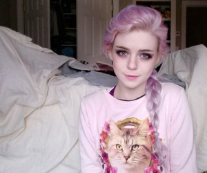 girl, pink, and cat image