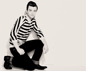 chris colfer, black and white, and fashion image