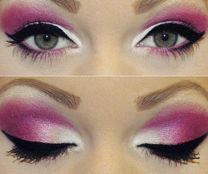 black, pink, and eyes image