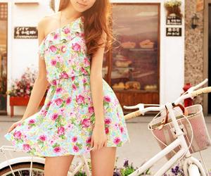 dress, girl, and bike image