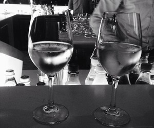 drink, black and white, and wine image