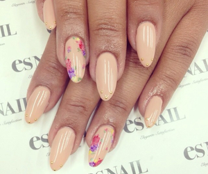 nails, girl, and flowers image