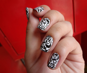 black, nails, and flowers image