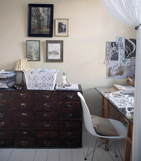 decor, desk, and drawers image