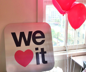 we heart it, pink, and balloons image