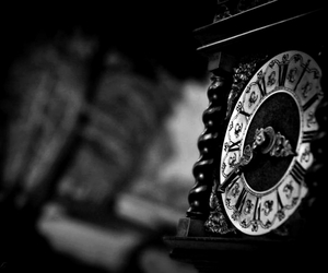 antique, black and white, and clock image