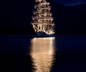 boat, lights, and night image