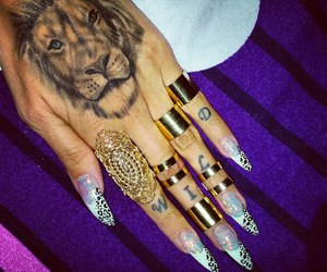 nails, lion, and tattoo image