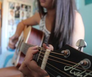 guitar, beautiful, and girl image