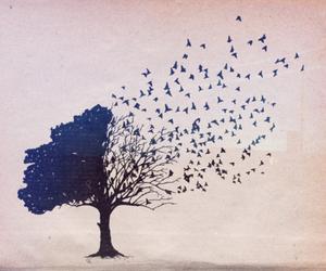 tree, bird, and art image