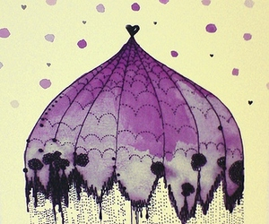 umbrella, illustration, and purple image
