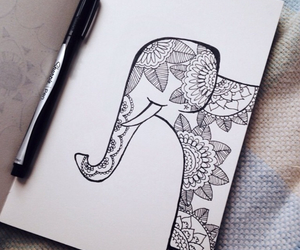 black, elephants, and drawings image