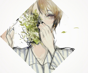 anime boy, flowers, and monochrome image