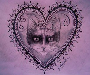 cat, draw, and heart image