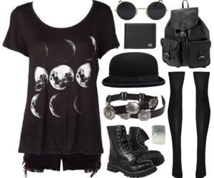 black, moon, and grunge image
