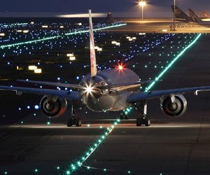 airplane, lights, and fly image