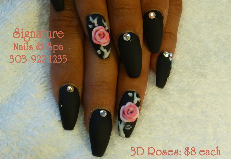 Rose Black Nails uploaded by Jessica Rabbit on We Heart It