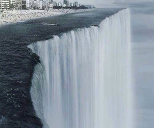 waterfall, water, and city image