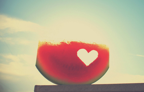 fruit, watermelon, and heart image