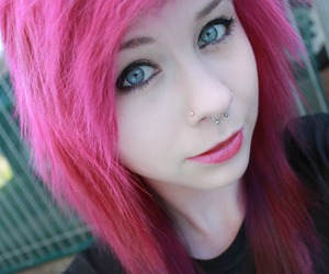 blue eyes, dyed hair, and Piercings image