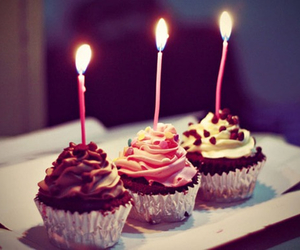 cupcake, birthday, and candle image
